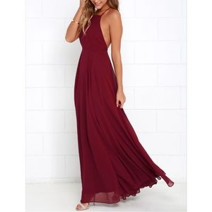 Lulu's Mythical Love Wine Red Maxi Dress